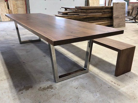 Live Edge Dining Table With Chrome Legs And Waterfall Bench We Are