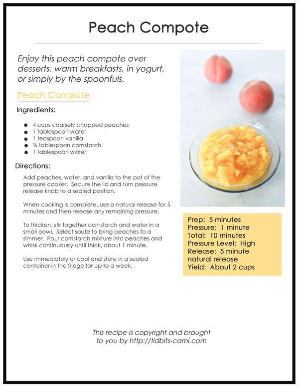 Pressure Cooker Peach Compote - Tidbits