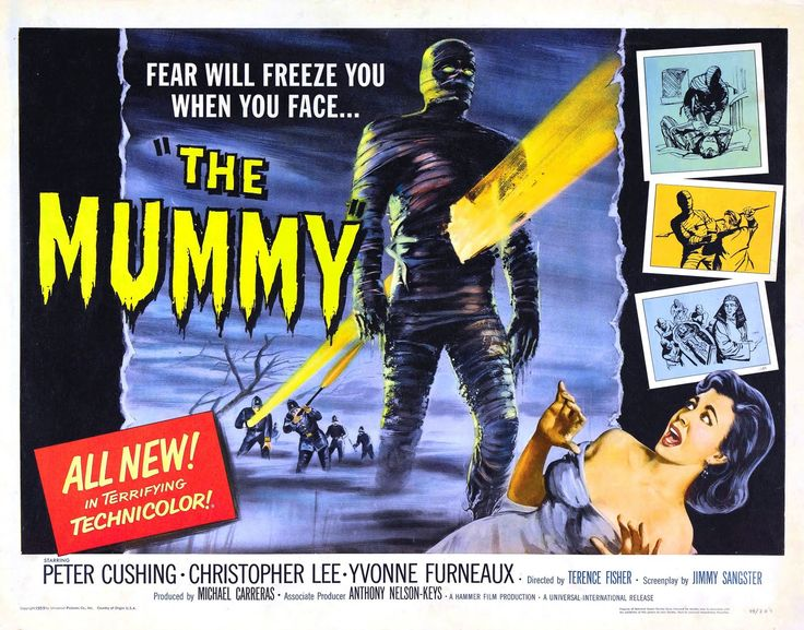 'THE MUMMY' (1959). Three British archeologists discover the grave of an important Egyptian female priest who has died about four millenia ago. But when they open it a bad curse falls on them for having woken up the mighty guard of the grave who was buried with the priest... Click on the POSTER to view the trailer...