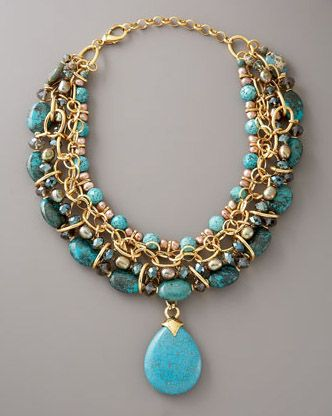 JOSE AND MARIA BARRERA JEWELRY BERGDORF GOODMAN | Jose & Maria Barrera Turquoise and Pearl Chain Necklace, $940
