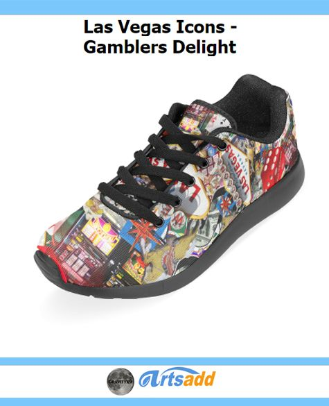 Las Vegas Icons - Gamblers Delight Women's Running Shoes (Model 020) LAS VEGAS! Popular sights in Las Vegas, including the Las Vegas Welcome Sign, Poker chips, dice , slot machines and more.  #Artsadd #Gravityx9 #LasVegasIcons -