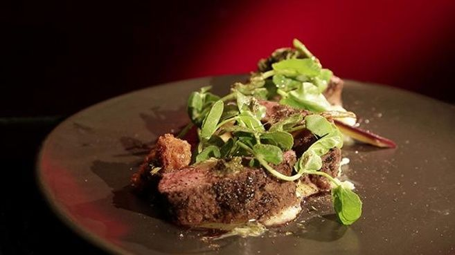 Sous Vide Lamb with Crispy Brains and Caramelised Onion Purée