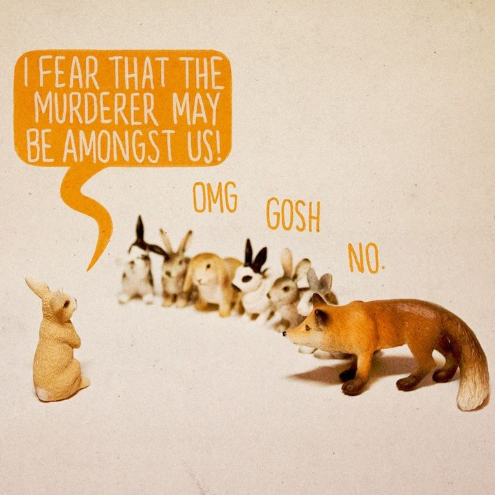 : Ales Lewis, Rabbit, Murders Mystery, Art Prints, Funny, Alternative Art, Foxes, Bunnies, Toys Stories