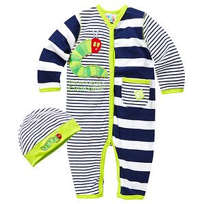 The Very Hungry Caterpillar Stripe Romper + Hat - Blue + White