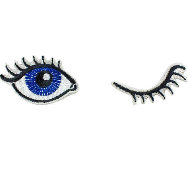 Wink Set of 2 Embroidered Patches / Iron-On Appliques - Winking Eyes by WildflowerandCompany on Etsy https://www.etsy.com/listing/213590048/wink-set-of-2-embroidered-patches-iron