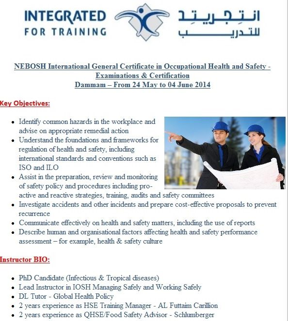 NEBOSH International General Certificate in Occupational Health - health and safety policy
