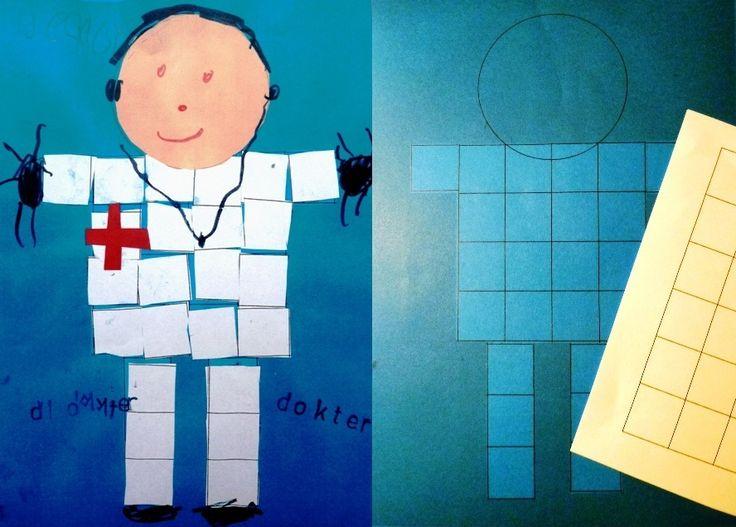 Dokter knippen en plakken op voorbedrukte achtergrond. Witte vierkantjes worden uitgeknipt en opgeplakt. Tellen en meten.