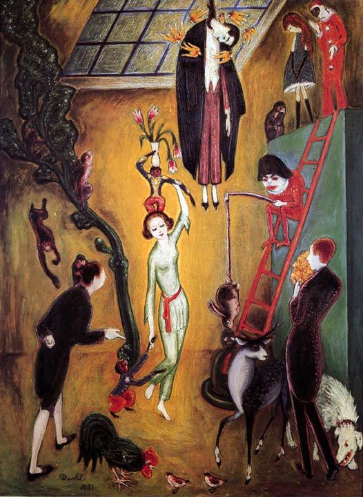 Nils Dardel (a visit to the excentric lady), 1921, oil on canvas