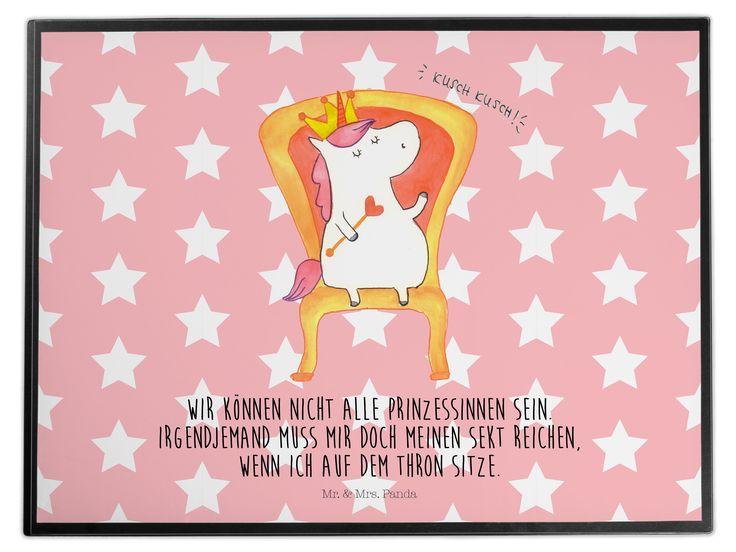Schreibtischunterlage Einhorn König aus Kunststoff  Schwarz - Das Original von Mr. & Mrs. Panda.  Die Schreibtischunterlage wird in Deutschland exklusiv für Mr. & Mrs. Panda gefertigt und ist aus hochwertigem Kunststoff hergestellt. Eine ganz tolle Besonderheit ist die einzigartige Einlegelasche an der Seite, mit der man das Motiv kinderleicht gegen andere Motive von Mr. & Mrs. Panda tauschen kann.    Über unser Motiv Einhorn König  Das süße Einhorn auf dem Thron ist genau das richtige…