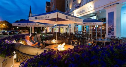 The Regatta Pub serves breakfast/lunch/dinner daily with 50 menu offerings, relaxing, family/friend ambiance, and indoor and outdoor patio dining.