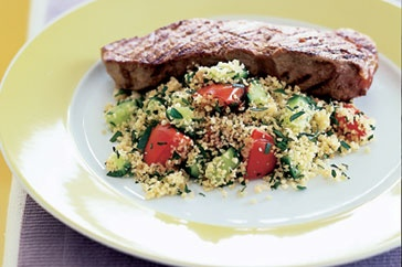 Barbecue steak with spices and tomato couscous  Leap into summer with this healthy steak dinner made for easy entertaining.