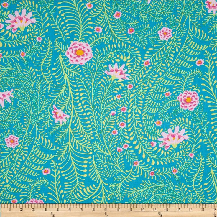 Kaffe Fassett Collective Ferns Turquoise from @fabricdotcom  Designed by Kaffe Fassett for Westminster, this cotton print is perfect for quilting, apparel and home decor accents.  Colors include lime, turquoise, yellow and shades of pink.
