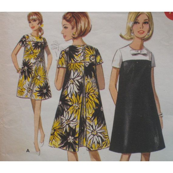 1960s tent dress pattern | Yoked Tent Dress Pattern, Vintage 1960s Short Sleeves, Back Pleat ...