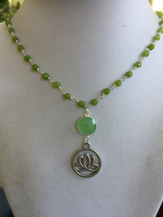 Green Chalcedony with Silver Chain Jade Beads and by joytoyou41