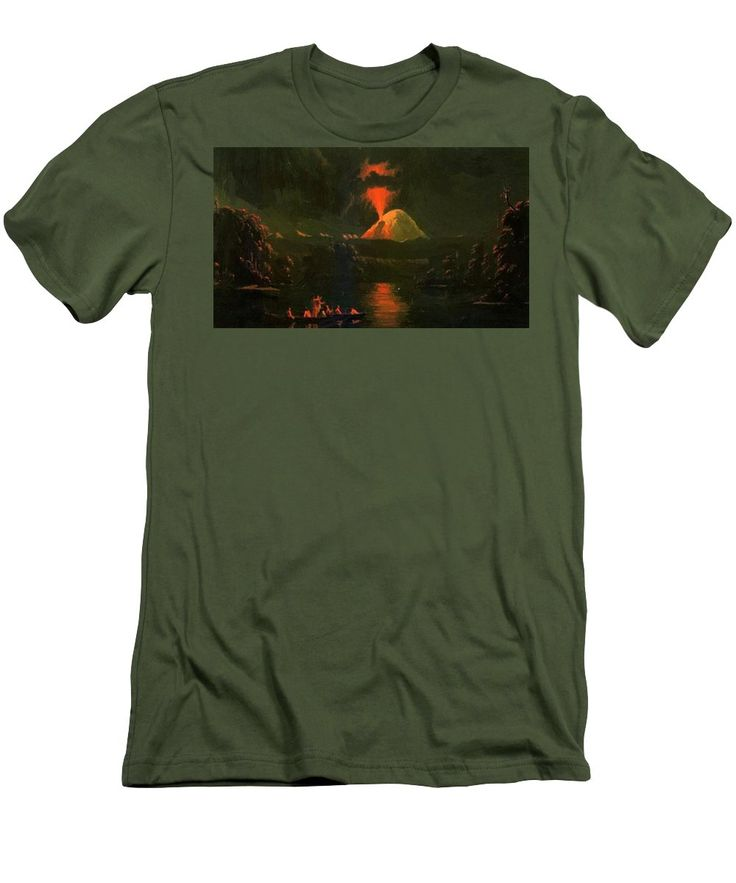 Mount Men's T-Shirt (Athletic Fit) featuring the painting Mount St Helens Erupting At Night by Kane Paul