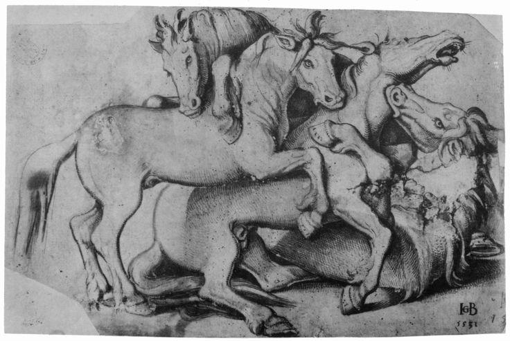 Hans Baldung Grien, Vier kämpfende Hengste (Strassburg, 1531, Staatliche Kunsthalle, Karlsruhe).