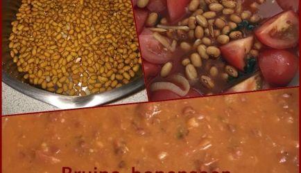 Vandaag heerlijke bruine bonensoep gemaakt. BRUINE BONENSOEP met CHORIZO, SALAMI week 400 gram bruine bonen een nacht ervoor.