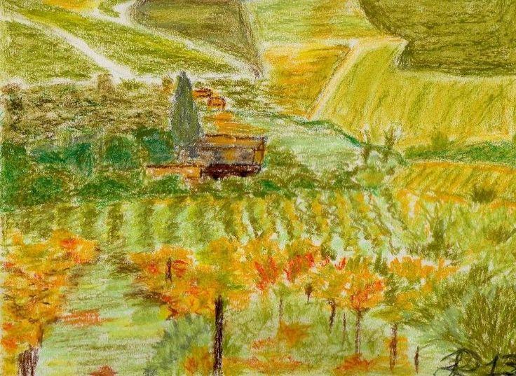 Paesaggio (pezzo unico), pastelli ad olio su carta da spolvero 25X30 cm ca.