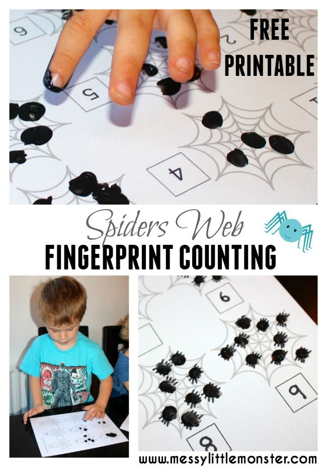 Fingerprint counting FREE PRINTABLE. A simple fingerprint spiders web activity for toddlers, preschoolers and the early years. This spider learning activity is themed around the book 'The Very Busy Spider'.  Great for a autumn or winter project.