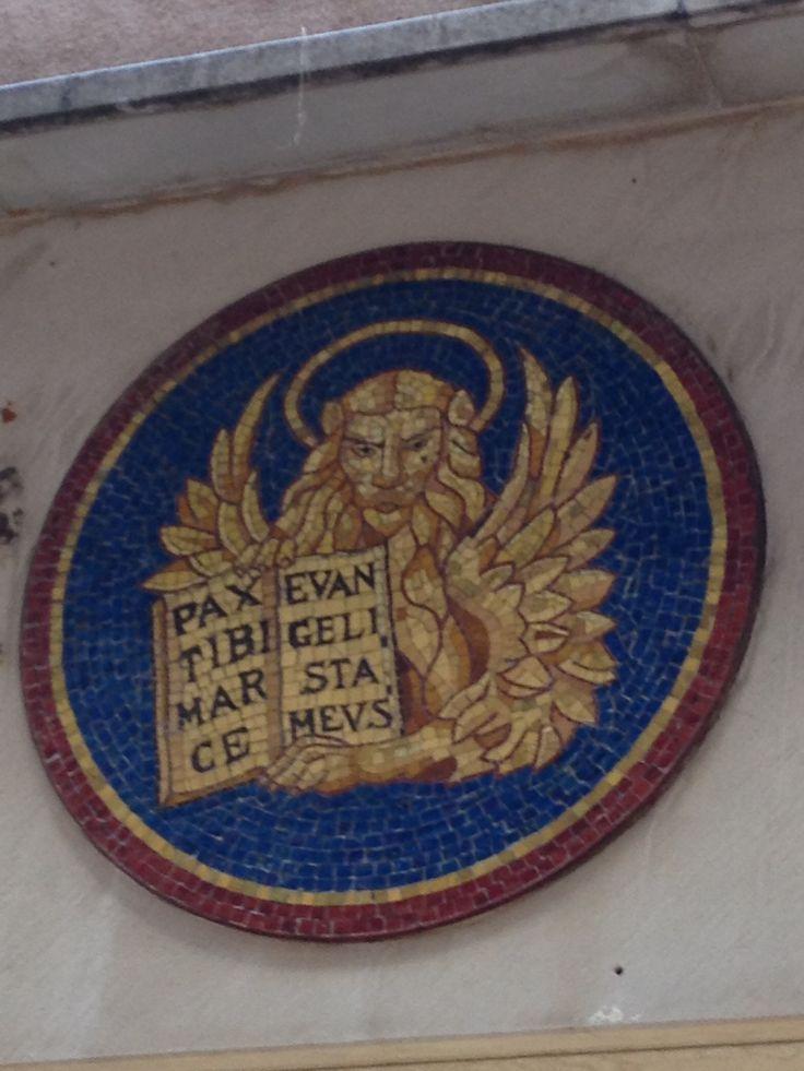 Leone - the winged lion is a symbol of the Veneto region, Bassano del grappa