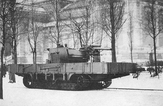 This photo of is believed to be the third A7V-Flakpanzer self-propelled anti-aircraft battery prototype.
