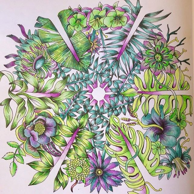 Just for fun a quickie ! Revisiting old books. Enjoying it. Exotischer Urwald by good wives and warriors. Great book. Luminance and prisma #colouringbooks #adultcolouring #colouringforadults #coloringbook