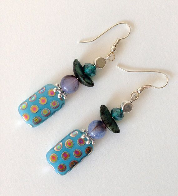 Turquoise Peacock Beaded Earrings Spotted Blue by Deliciousbits, £7.85
