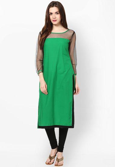 Green Solid Cotton Kurta - Sringam Kurtas & kurtis for women | buy women kurtas and kurtis online in indium