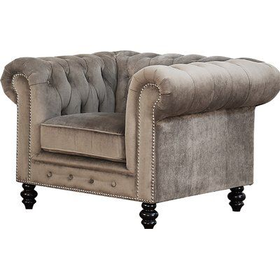 "Turcott 66"" Leather Chesterfield Sofa"