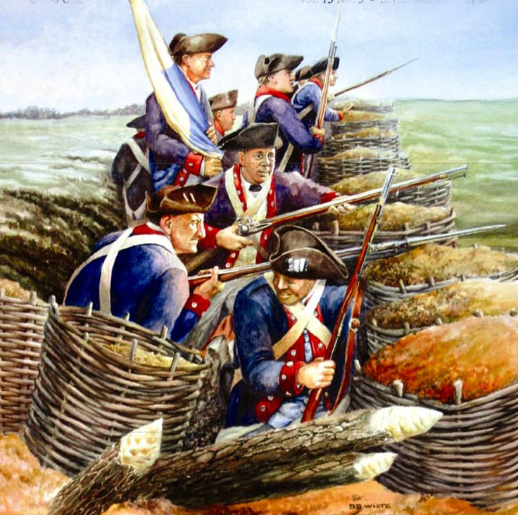 American Continental infantry in a siege trench