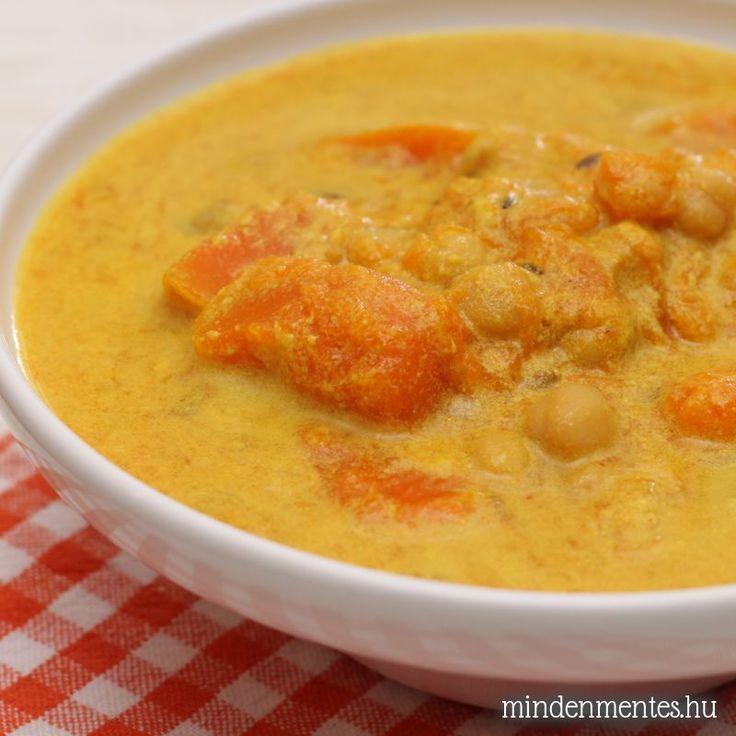 Kókuszos sütőtök curry csicseriborsóval