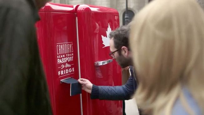 Molson's Beer Fridge Can Be Opened Only With a Canadian Passport HT John Deighton @hbsmkrg