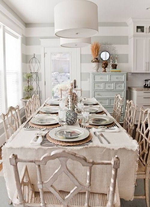 Love it all.: Dining Area, Tables Sets, Stripes Wall, Chairs, Color, Shabby Chic, Grey Stripes, Tablecloths, Dining Rooms Design
