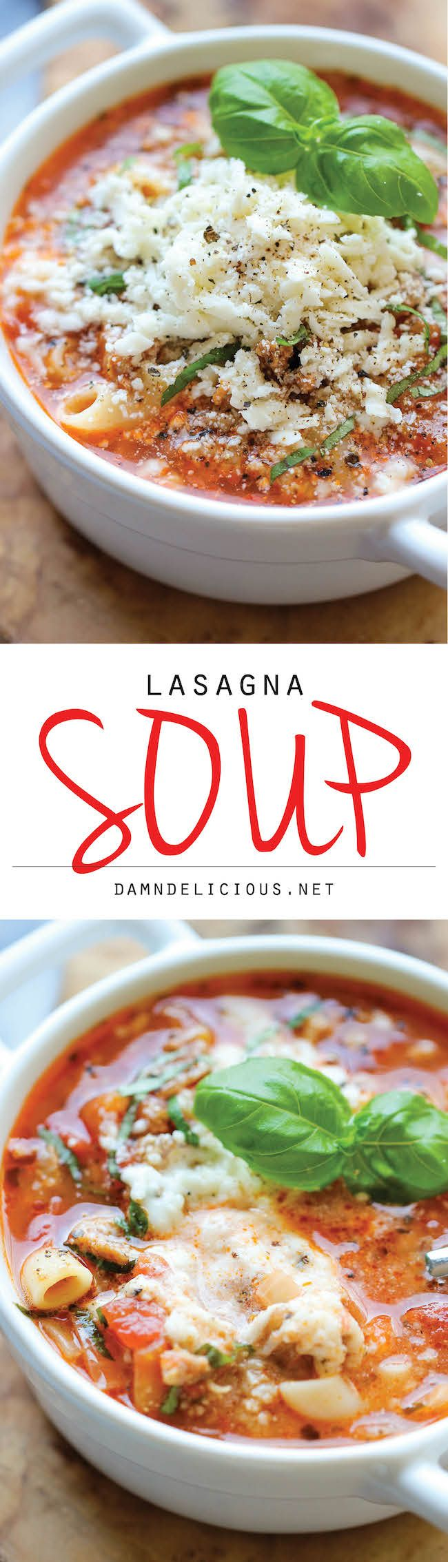 Lasagna Soup - All the flavors of lasagna in a comforting, cheesy soup with a dollop of ricotta that gets melted right into the soup! http://damndelicious.net/2013/12/14/lasgana-soup/?utm_content=buffer54094&utm_medium=social&utm_source=pinterest.com&utm_campaign=buffer