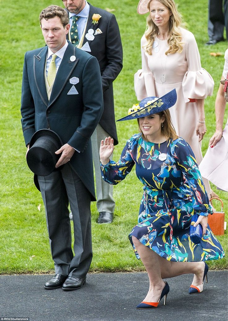 Princess Eugenie curtsies and waves to her grandmother while her boyfriend Jack Brooksbank...