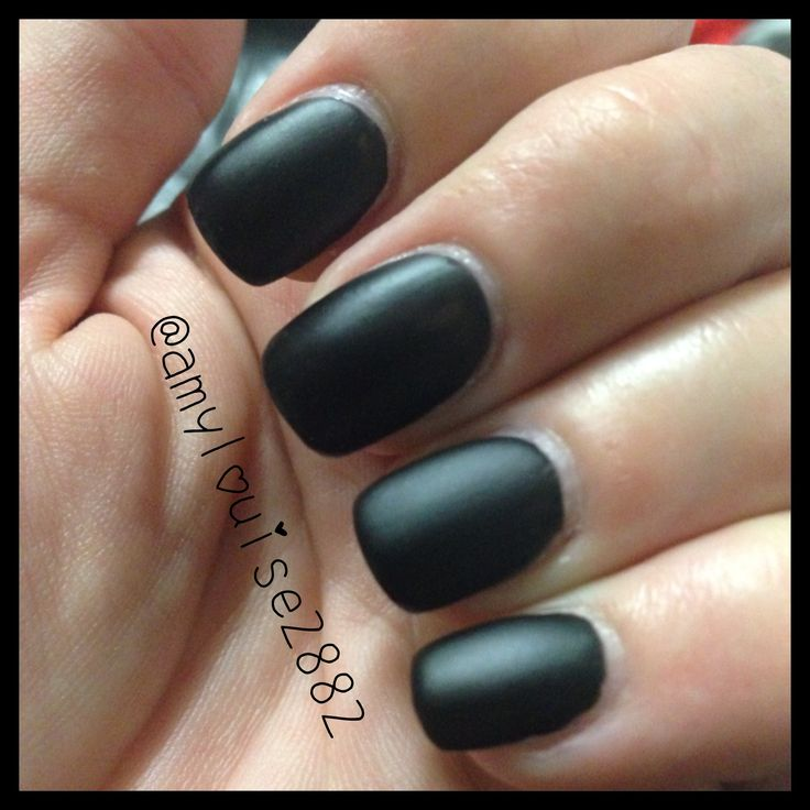 A beautiful matte black! Products Used:  Covergirl Outlast Stay Brilliant in 'Black Diamond' topped off with Sally Hansen 'Big Matte Top Coat'