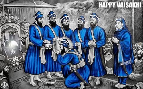 Happy Vaisakhi.  Guru Gobind Singh, the 10th Guru being inducted in the Sikh Order by his own 5 disciples(Panj Piare) by giving Amrit Pahul.