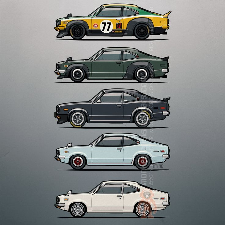 Stack of Mazda Savanna GT RX3 Coupes - Artwork / Illustration of vintage #JDM #Mazda Coupes by Tom Mayer, Monkey Crisis On Mars | Redbubble.com