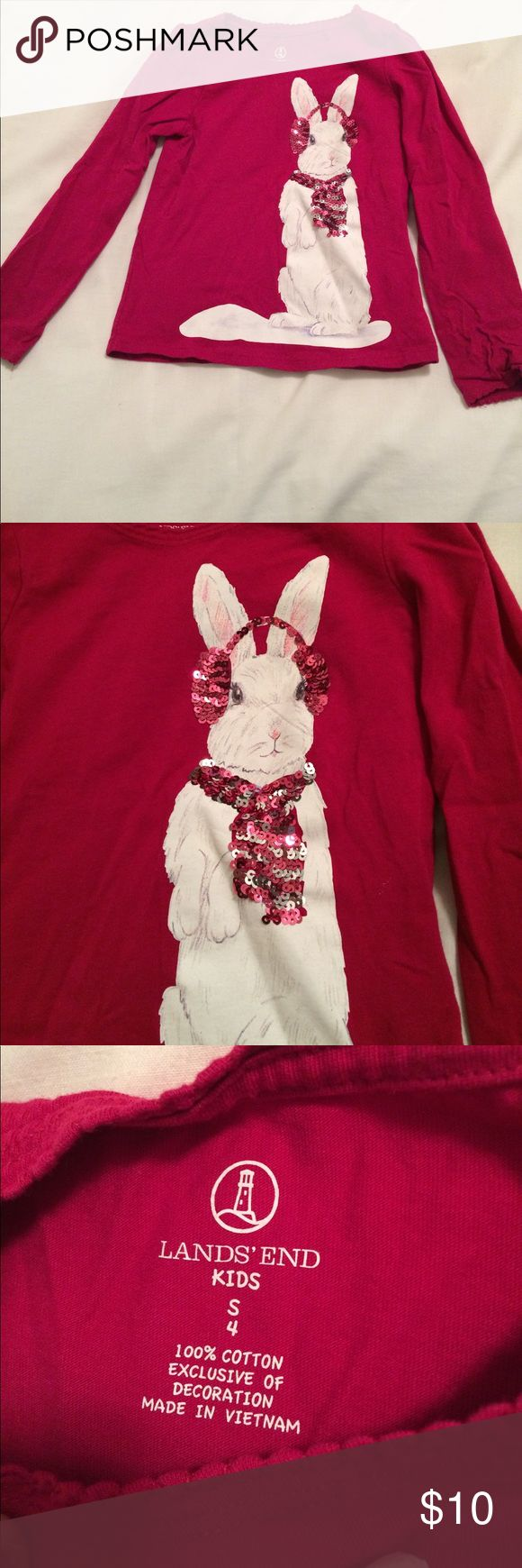 Great used condition! Lands end kids top Great used condition! Lands' End kids longsleeved T-shirt. A bunny with sequin embellishments. Size S/4. Lands' End Shirts & Tops Tees - Long Sleeve