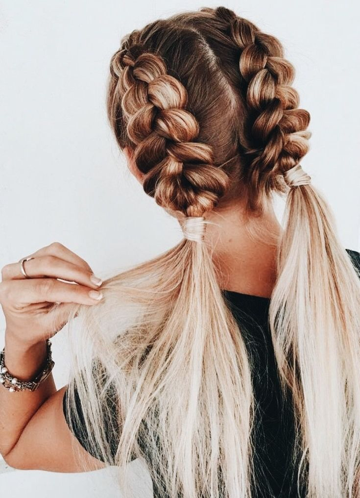Braided Balayage Pigtails Cool Braid Hairstyles Hair Styles Braided Hairstyles Easy