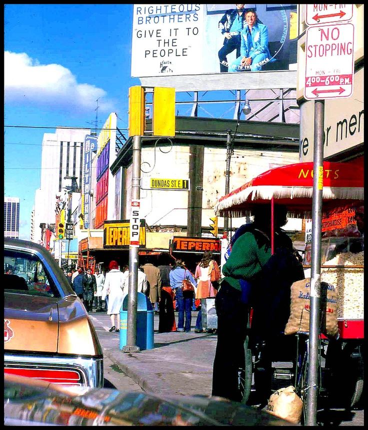The corner of Yonge and Dundas Streets circa 1974.