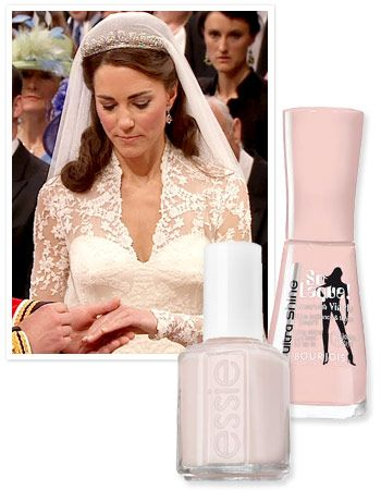 "InStyle Magazine: ""Kate Middleton's manicurist Marina Sandoval from the Jo Hansford salon spoke ... to reveal the exact shades of polish she blended for the bride's wedding day look: Bourjois So Laque Ultra Shine Nail Enamel in Rose Lounge, a barely there pink sold only in the UK, and Essie Allure ($8, essie.com), a sheer beige tone. ""  ... I love blending polish!"