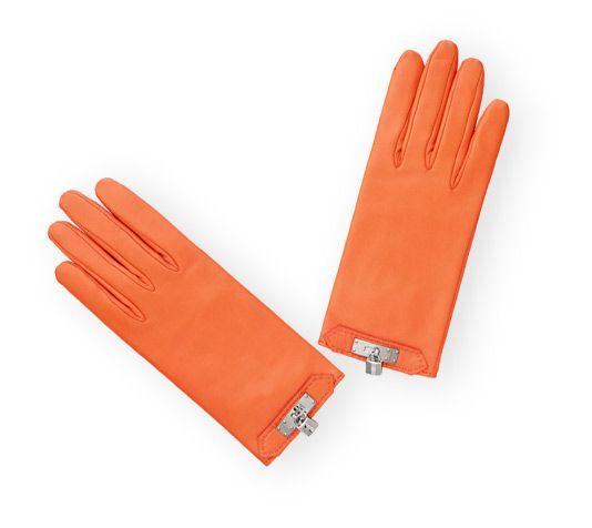 Soya Hermes women's gloves in glossy fire orange lambskin with silk lining…