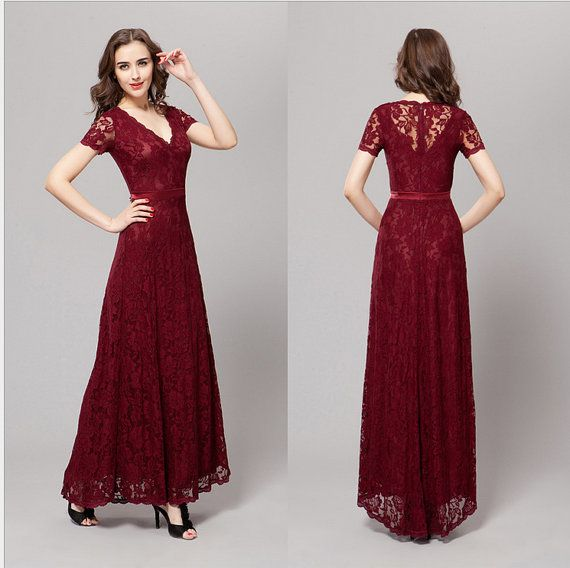 2014 NEW Dark red lace elegant wedding dresses by DesignBridal, $128.00