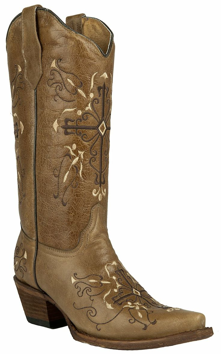 Corral® Circle G™ Women's Antique Saddle Brown with Cross Embroidery Snip Toe Cowboy Boots