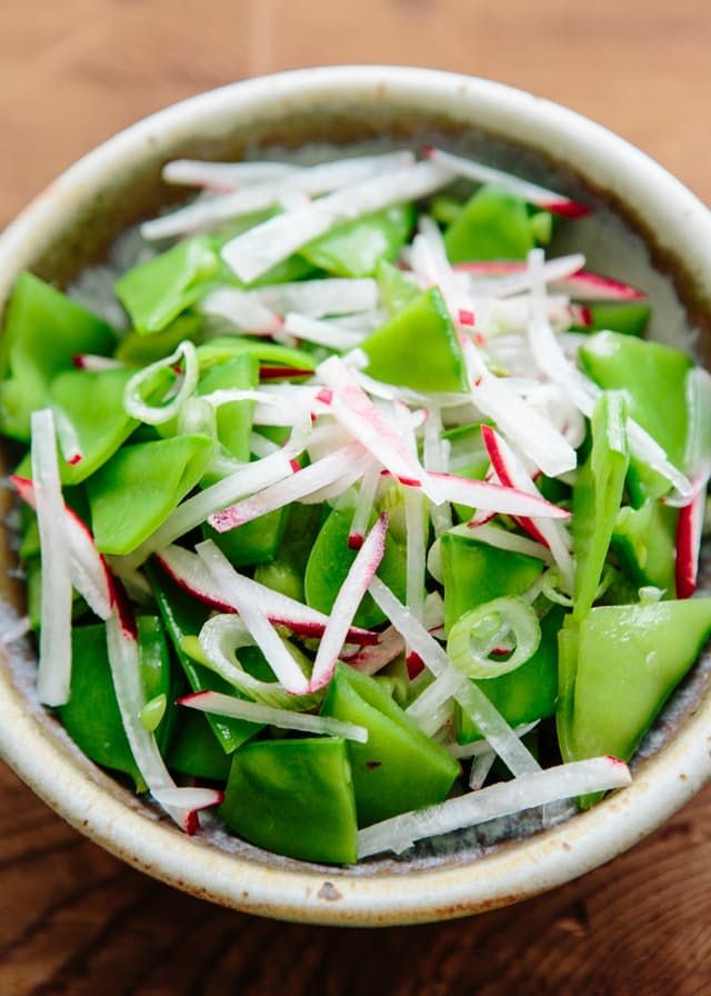 Ellie Krieger is a queen of simple, healthy recipes that have a bare minimum of ingredients yet still manage to have flavor and flair. This salad is the perfect example — just radishes, snow peas, and scallions in a light dressing. An elemental blend of spring vegetables — and the easiest side dish for any meal.