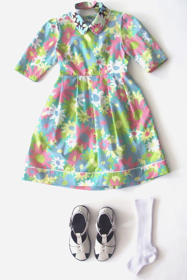 Love flower power daisy graffiti print cotton fabric 60s 70s retro - Superb Retro Floral Print Dress By Marni Children For Girls Summer 2013