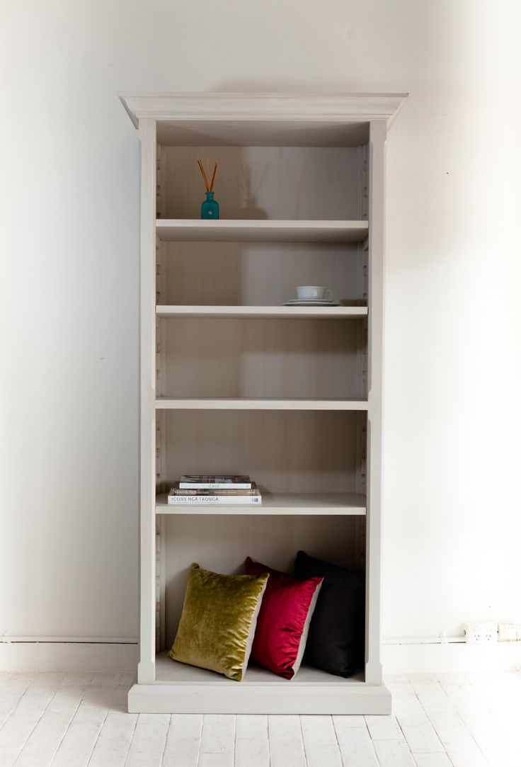 Bookshelf, handcrafted with adjustable saw tooth shelves, painted in a off white tone with a white wash finish. enquiries www.siaandme.com made by Sia