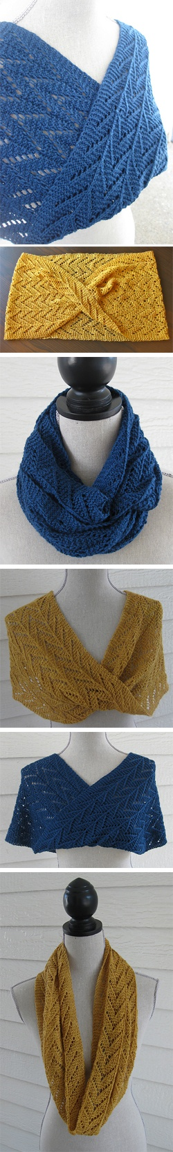 Barbara, by Debbi Stone: A great one skein project. It is knit flat and then twisted and joined into a mobius. Wear it long, wound around your neck or over your shoulders. It's perfect for that special skein in you stash and is ideal for gift giving!