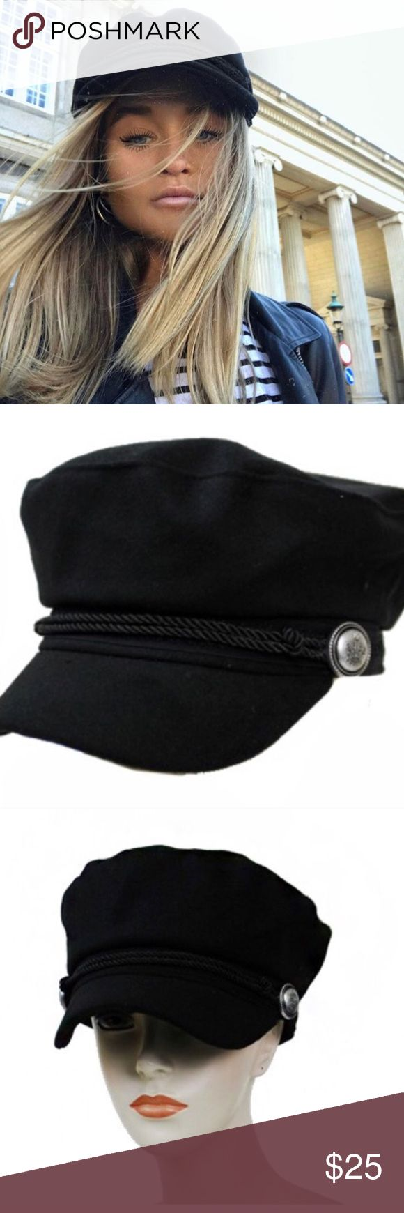 Black wool cabbie trendy newsboy braid detail hat - Brand new from our online store - No trades  - FIRM on price  - Onesize (OS) Brandy Melville Accessories Hats